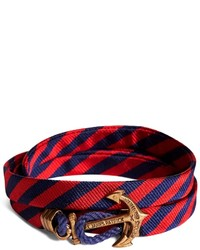 Brooks Brothers Kiel James Patrick Navy And Red Bb5 Stripe Wrap Bracelet
