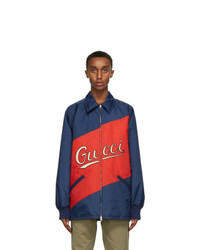 Gucci Red And Navy Nylon Script Jacket