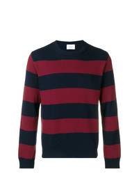 Navy and Red Horizontal Striped Crew-neck Sweater