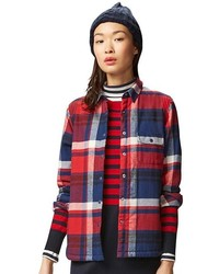 Faux Shearling Flannel Long Sleeve Long Shirt