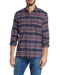 Navy and Red Plaid Flannel Long Sleeve Shirt