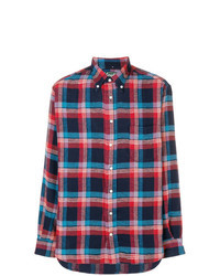 Navy and Red Plaid Long Sleeve Shirt
