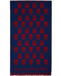 Alexander McQueen Blue Red Skull Scarf