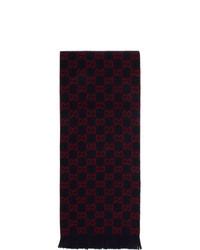 Gucci Navy Wool Gg Scarf