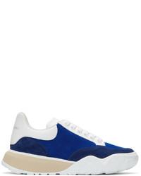 Alexander McQueen Blue Suede Court Trainer Sneakers