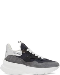 Alexander McQueen Grey Navy Rib Suede Sneakers
