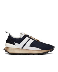 Lanvin Navy And White Running Sneakers
