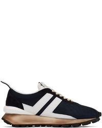Lanvin Navy White Mesh Bumpr Sneakers
