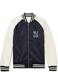 Nudie Jeans Mark Reversible Logo Print Cotton And Tencel Blend Bomber Jacket