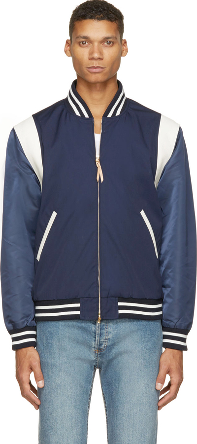 Nanamica Navy Combination Varsity Bomber Jacket | Where to buy ...