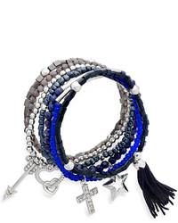 Kate Spade Bar Iii Silver Tone Blue Mixed Multi Charm Stretch Bracelet Set