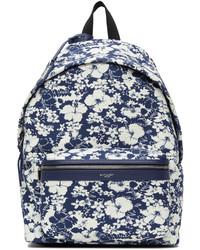 Saint Laurent Blue White Hibiscus Toile Print City Backpack