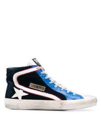 Navy and White Canvas High Top Sneakers