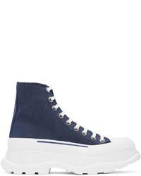Alexander McQueen Indigo Denim Tread Slick Boots