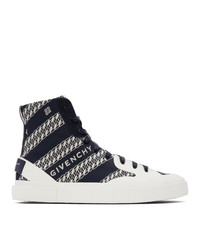 Givenchy Navy Chain Tennis Light High Top Sneakers