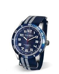 Haurex Italy 1a355ubb Premiere Blue Canvas Date Watch