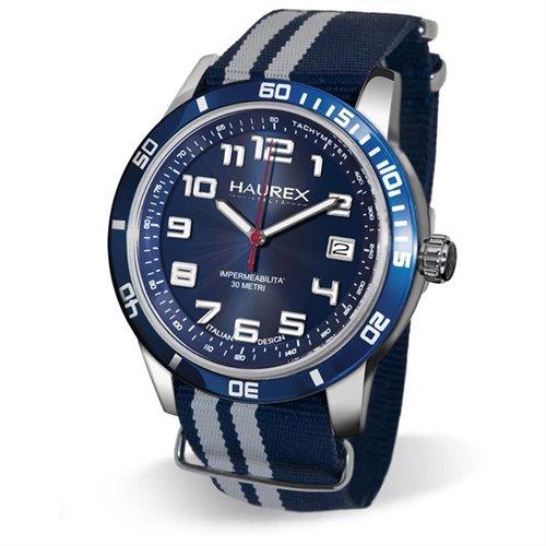Haurex Italy 1a355ubb Premiere Blue Canvas Date Watch ...