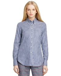 Two toned check button down shirt medium 186743