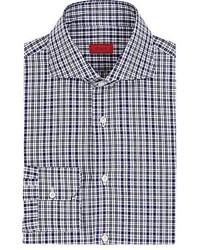 Isaia Checked Cotton Poplin Button Front Shirt