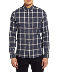 Vince Classic Fit Windowpane Button Up Shirt