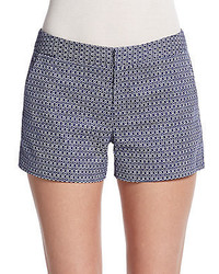 Navy and White Check Shorts