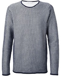 Navy and White Crew-neck Sweater