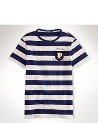 Navy and White Crew-neck T-shirt