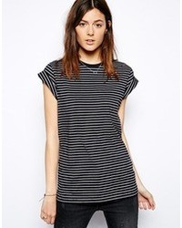 Asos Boyfriend T Shirt With Roll Sleeve In Stripe