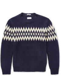 Men's Navy and White Fair Isle Crew-neck Sweater, White and Red ...
