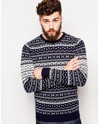 Navy and White Fair Isle Crew-neck Sweaters for Men | Men's Fashion