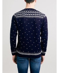 Topman Navy Slogan Christmas Sweater | Where to buy & how to wear