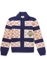 Gucci Intarsia Wool Bomber Jacket