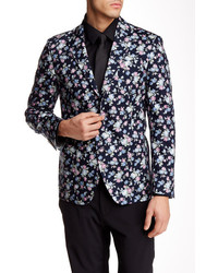 Navy and White Floral Blazer