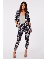 Missguided dorothie floral print cigarette trousers navy medium 110815