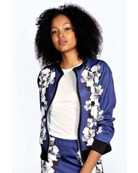 Boohoo ira scuba floral print bomber jacket medium 129025