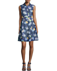 Creatures of the Wind Floral Sweet Sleeveless Shirtdress Navy Multi