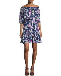 Joie Marx Floral Print Off Shoulder Dress