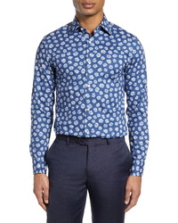 Navy and White Floral Dress Shirt