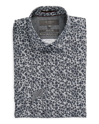 Ted Baker London Trim Fit Mini Floral Print Stretch Dress Shirt