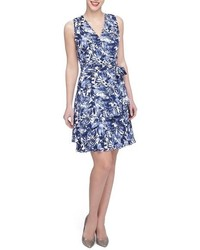 Navy and White Floral Fit and Flare Dress
