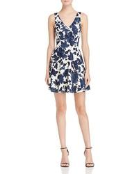 Aqua Floral Scuba Fit And Flare Dress 100%