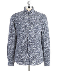 Navy and White Floral Long Sleeve Shirt