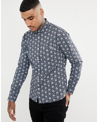 Pretty Green Slim Fit Floral Print Shirt In Navy