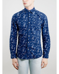 Topman Selected Homme Navy Floral Print Shirt