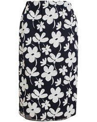 Navy and White Floral Pencil Skirt