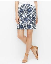 Ann Taylor Floral Stretch Cotton Mini Skirt
