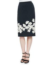 Erdem Aysha Floral Border Pencil Skirt