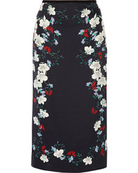 Erdem Maira Floral Print Silk Satin Midi Skirt