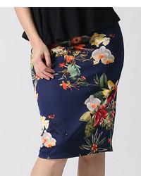 Navy White Floral Scuba Pencil Skirt Plus