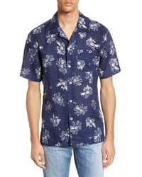 Navy and White Floral Short Sleeve Shirt